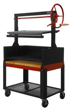 "Argentine Grill 36"" w/Fire Brick, Grill Head & Firebox, Cart, Single Grate - Item #ARG-36DSICRT"