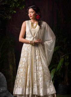 Off White wedding wear ready-made Indian kalidar suit in net I15338