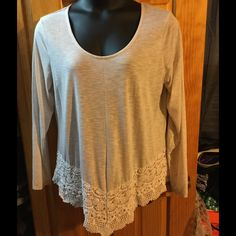 Top Lace accent top Maurices Tops Tees - Long Sleeve