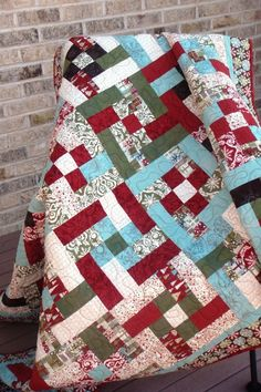 Christmas Quilt - love the colors!!!  need to get out the graph paper to block it out