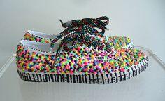 GLOW Neon Sprinkle Paint Vans Tennis Shoes by Blim on Etsy, $95.00