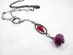 Gun Metal Lariat Necklace Purple Beaded by LittleBitsOFaith, $25.00
