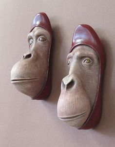 """Foot Fetish"" & ""Off the Bathroom Floor"" -- Wall Sculptures by Gwen Murphy"