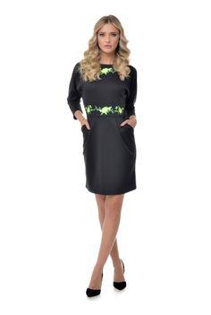 Rochie cu buzunare RN116 -  Ama Fashion Dresses For Work, Floral, Fashion, Moda, Fashion Styles, Flowers, Fashion Illustrations, Flower