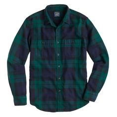 J.Crew black watch flannel plaid shirt