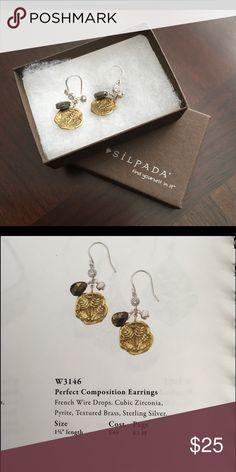 Silpada earrings W3146 Brass, silver, pyrite & cz Silpada Jewelry Earrings