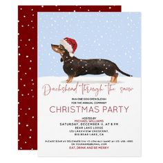 DACHSHUND THROUGH THE SNOW Cute Christmas Party Invitation minature dachshund, celebrities with dachshunds, long hair dapple dachshund #dachshund #DachshundsThroughtNovember #dachshundfamily, back to school, aesthetic wallpaper, y2k fashion Christmas Save The Date, Christmas Holidays, Winter Holiday, Christmas Ideas, Save The Date Invitations, Custom Invitations, Invitation Cards, Holiday Parties, Holiday Cards