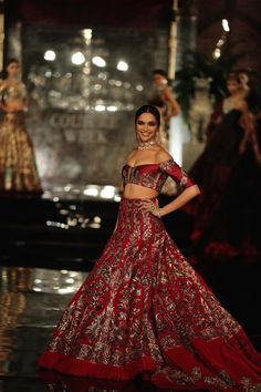Top Picks - Deepika Padukone in red velvet lehenga and off shoulder blouse with hand woven gold embroidery - Manish Malhotra India Couture Week 2016