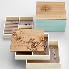 love this jewelery box in blue with dandilion...instead of initials id want it to say lyn