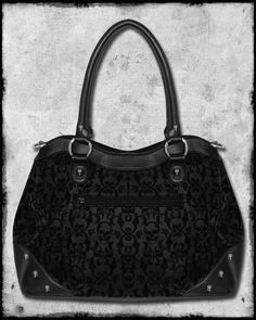 gothic Purse | ... GOTH STEAMPUNK FLOCKED ROSE SKULL CAMEO HANDBAG HAND SHOULDER BAG