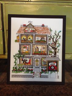 """House on Elm Street"" crewel embroidery (kit by Sunset Stitchery)"