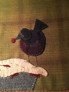 Wool appliqué on flannel background. These pie birds are cherry pickin! 11x18.5. Kits available at the lil country shoppe