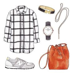 Good objects - Flannel shirt @hm + Grey New Balance @newbalance + Daniel Wellington watch @opticaprada + Hermès bracelet @hermes + Juliette necklace @lumojewelry #goodobjects watercolor illustration New Balance Outfit, Grey New Balance, Fashion Design Drawings, Fashion Sketches, Bracelet Hermès, Flat Sketches, Pretty Drawings, Daniel Wellington, Fashion Drawings