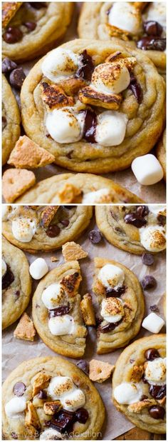 you love about soft and chewy chocolate chip cookies paired with the greatness of a s'more!Everything you love about soft and chewy chocolate chip cookies paired with the greatness of a s'more! Köstliche Desserts, Delicious Desserts, Dessert Recipes, Yummy Food, Tasty, Baking Recipes, Cookie Recipes, Smore Cookie Recipe, Cookie Dough