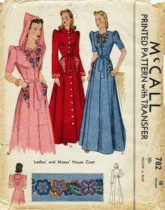 McCall 782 Housecoat Bust 36 Complete with transfer Copyright 1940 Vintage Dress Patterns, Clothing Patterns, Vintage Dresses, Vintage Outfits, Vintage Clothing, 1940s Fashion, Diy Fashion, Vintage Fashion, Classic Fashion