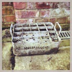 Vintage Zinc Milk Bottle Crate Garden Path, Garden Ideas, Funky Junk Interiors, Milk Crates, Food Crush, Industrial Living, Exotic Food, Juices, Metals