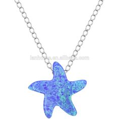 Blue Opal Jewelry 925 Sterling Silver Starfish Necklace