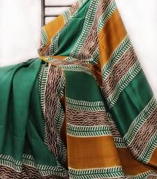 Buy Green -  Golden -  Brown Acid Print silk saree hand-woven-saree online