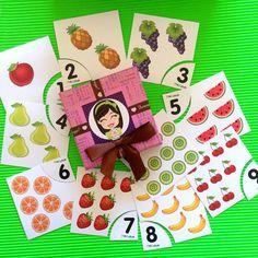 """1den 10 kadar... """"Meyveli Sayıları Öğrenme Kartları"""" 18 ay ve 5 Yaş Çocuklar için uygundur."""