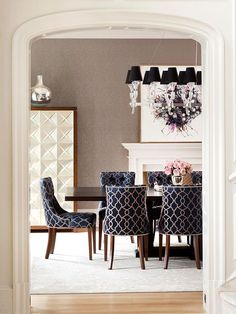 Formal Dining Rooms: Elegant Decorating Ideas for a Traditional Dining Room. I would recover the chairs, not a fan of the navy blue.