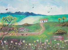 Romantic Poem Original Acrylic Painting Art 16'' x 12'' on Canvas Board...found on Etsy