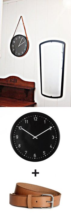 DIY: Ikea Clock with Leather Belt Hanger.  #diy #ikea #clock