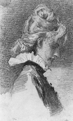 Sketch of Profile of a Woman  -  John Singer Sargent 1870-79  Impressionism  graphite on wove paper   Harvard Art Museums-Fogg Museum, Cambridge MA