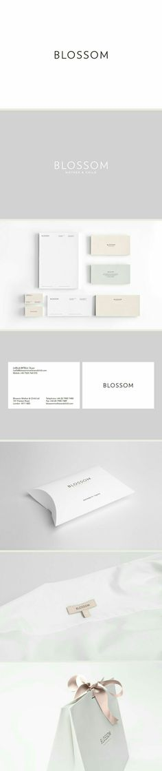 branding identity graphic design blossom brand identity by reef design white and light pastel colors stationary design minimalist design and