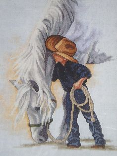 Counted Cross Stitch Kit A little cowboy and his horse