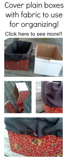 See how to cover plain boxes with fabric and use them for organizing around your home. by morecerv. Fabric Storage Boxes, Fabric Boxes, Diy Storage, Cheap Storage, Fabric Covered Boxes, Storage Cubes, Diy Projects To Try, Sewing Projects, Sewing Ideas