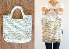 FREE crochet pattern : sturdy market tote // Delia Creates ~ For a crocheted bag, this thing is really tough stuff. There are just under a dozen medium to large apples in there and it handles it like a champ. It makes a great library book tote as well.