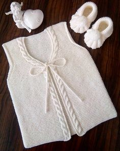 These 41 Baby Knitting Models Take Many Orders! - 41 Times You Will Call Maşallah 41 Baby Vest Cardigan Dress Knitting Model - Baby Knitting Patterns, Free Knitting, Knit Baby Sweaters, Knitted Baby Clothes, Dress With Cardigan, Baby Cardigan, Vestidos Bebe Crochet, Vest Pattern, Crochet For Kids