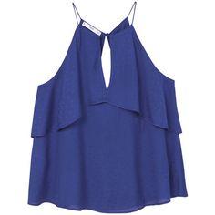 MANGO Ruffled flowy top (165 BRL) ❤ liked on Polyvore featuring tops, shirts, tanks, ruffle shirt, mango shirts, slit tops, blue top and blue ruffle shirt