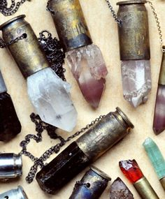 "I love these - Unearthen ""Crystal Bullet Necklace"".crystals embedded into old bullet casings and made into necklaces. Diy Jewelry, Jewelry Box, Jewelry Accessories, Jewelry Necklaces, Handmade Jewelry, Jewelry Design, Jewelry Making, Jewellery, Shell Jewelry"