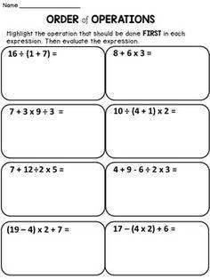 Order of Operations Worksheets - Unterrichtsfächer Math Tutor, Math Teacher, Math Classroom, Teaching Math, Sixth Grade Math, Fourth Grade Math, Algebra Worksheets, Order Of Operations, Homeschool Math