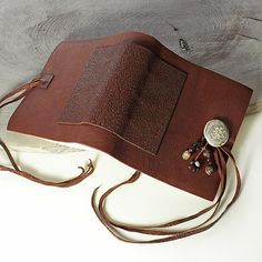 Leather Journal handbound book in soft brown by Mia Leijonstedt