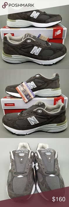 Made in USA New Balance 990 White Suede and  Nylon Shoes Size US 14