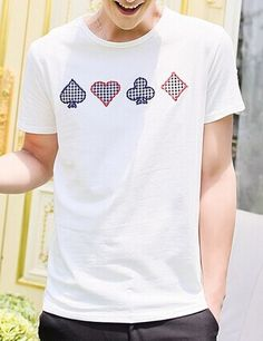 Slimming Trendy Solid Color Round Neck Personality Geometric Embroidery Embellished Short Sleeves Cotton Blend T-Shirt For Men Color: WHITE, GRAY Size: M, L, XL Category: Men > Men's T-Shirts & Vest   Material: Polyester, Cotton  Sleeve Length: Short  Collar: Round Neck  Style: Casual  #solidcolortshirtsmen #solidtshirts  #mentshirts #tshirts #bridgat.com