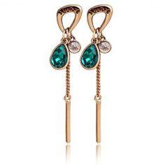 Trendy Faux Crystal Waterdrop Bar Tassel Earrings For Women from $3.75 by NASTYDRESS