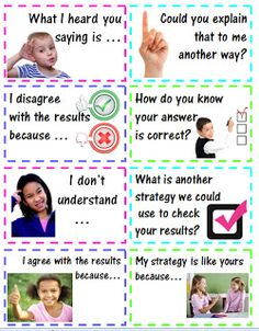 Accountable Talk -These stems are used in the math block when students are explaining, justifying, and critiquing other students' math problem solving work. Math Classroom, Kindergarten Math, Teaching Math, Preschool, Math Resources, Math Activities, Math Games, Accountable Talk, Daily 5 Math
