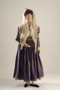 The bridal costume from Lefkas starts with an ankle-length chemise, which has… Greek Traditional Dress, Traditional Outfits, Greek Costumes, Dance Costumes, Bridal Headdress, Folk Costume, Silk Dress, Albania, Ankle Length