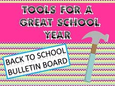 This product is the perfect Back to School bulletin board! Every one of your students will have the tools necessary to become successful in the upcoming year.This Product Contains:1. The words: Tools to Make ____ Grade Great! 2. Grades 1st -8th  numbers3. 13 Goals written on tools ( 2 sizes- one for smaller bulletin board and one for larger bulletin board)4. 1 toolbox  titled My Tool which you can use and have the students write their own goal for the year.