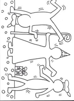 Kleurplaat Sinterklaas: Keith Haring Keith Haring, Christmas Crafts For Kids, Art Plastique, Doodle, Projects To Try, December, Saint Nicholas, Pranks, School