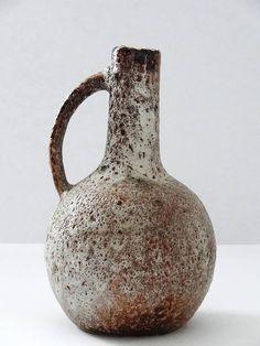 Vest Keramik Mid Century Crusty Beige Fat Lava West German