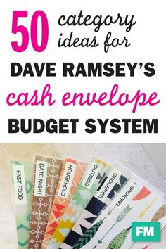 50 Cash Envelope Category Ideas I started using the Dave Ramsey's cash envelope system for budgeting recently, and it's a game changer! I love anything that makes life a little simpler, and cash envelopes make budgeting SO easy. *Disclosure: This post may Envelope Budget System, Cash Envelope System, Dave Ramsey Envelope System, Cash Envelope Budget, Budget Envelopes, Money Envelopes, Budgeting Finances, Budgeting Tips, Making A Budget