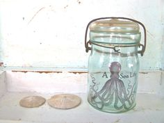 Blue Mason Jar Shabby Beach Cottage Octopus Chic by SweetMeas, $34.00