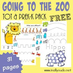 Little ones will LOVE learning about all the Zoo Animals with these ADORABLE Going to the Zoo Tot & PreK-K Pack!! 31 total pages :: www.inallyoudo.net