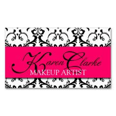 Makeup Artist Business Card Damask Pink. Make your own business card with this great design. All you need is to add your info to this template. Click the image to try it out!