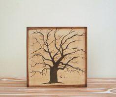 Rustic Home Decor l Old Oak Tree 5x5 art block on by redtilestudio, $29.00