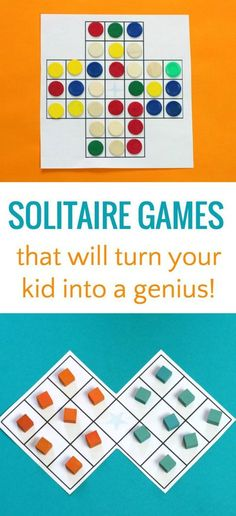 Solitaire peg puzzle variations are great thinking games for kids that will make them smarter! These brilliant indoor games enhance visual perception, logic and patience skills! These are some of the best puzzle for adults, too. Activity Games, Math Games, Math Board Games, Speech Activities, Typing Games, Family Activities, Family Games, Family Game Night, Board Games
